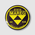 Mareg Battery Emblem - 16ah, Replica for 1955-'69