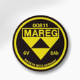 Mareg Battery Emblem - 8ah, Replica for 1950-'54